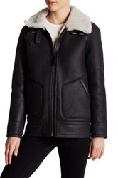 Mackage Genuine Sheepskin Trim Leather Aviator Jacket Black