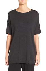 Eileen Fisher Women's Merino Wool Jersey Round Neck Tunic Charcoal