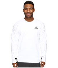Adidas Sport Id Bonded Fleece Pullover Crew White Black White Men's Long Sleeve Pullover