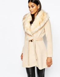 Michelle Keegan Loves Lipsy Coat With Faux Fur Collar Camel
