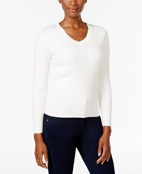Karen Scott Petite V Neck Sweater Only At Macy's Winter White