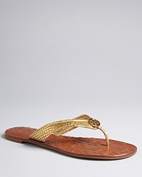 Tory Burch Thong Flip Flop Sandals Thora 2 Gold Snake