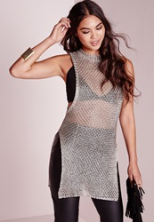 Missguided Metallic Drop Arm Hole Tunic Silver Grey