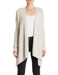 Lord And Taylor Open Front Cashmere Sweater Light Grey Heather