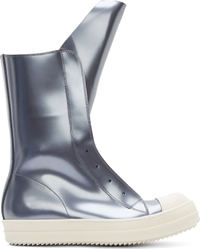 Rick Owens Silver Leather Ramones Boot Sneakers