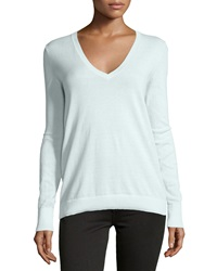 Neiman Marcus Cotton V Neck Long Sleeve Sweater White