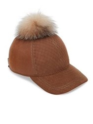 House Of Lafayette Fox Fur Pom Pom And Wool Baseball Cap Camel