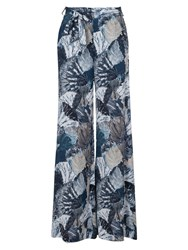 French Connection Lala Palm Drape Flared Trousers White Multi