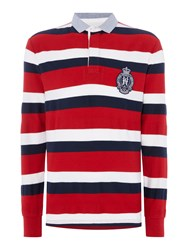 Howick Richmond Stripe Long Sleeve Rugby Shirt Red