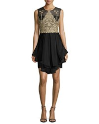 Marchesa Notte Sleeveless Embroidered Bodice Ruffled Cocktail Dress Size 2 Black