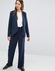 Selected Wide Leg Trouser With High Waist Navy
