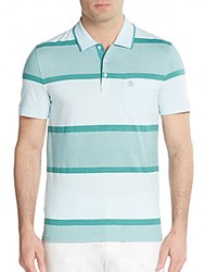 Original Penguin Expoloded Striped Cotton Polo Shirt Crystal Blue