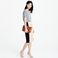 J.Crew Colorblock Pencil Skirt In Super 120S Wool