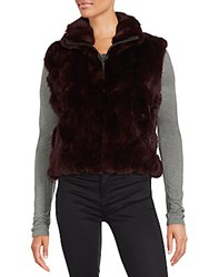 Saks Fifth Avenue Rabbit Fur Sleeveless Jacket Brown