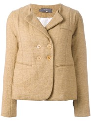 Cotelac Collarless Buttoned Blazer Brown