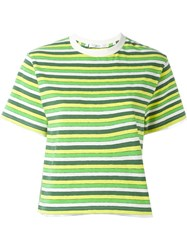 Julien David Striped Cropped T Shirt Green