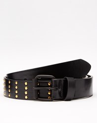 Asos Belt With Gold Studding And Black Coated Buckle Black
