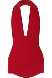 Norma Kamali Bill Ruched Halterneck Swimsuit Red