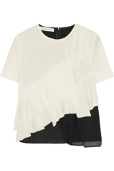 Cedric Charlier Pleated Cotton Crepe Mesh And Silk Georgette Top