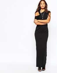 Diesel Long Maxi With Cut Out Shoulder Detail Black