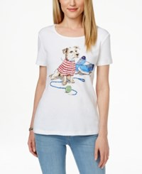 Karen Scott Graphic Print Short Sleeve Top Only At Macy's Bright White