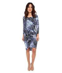 Adrianna Papell Print Scoop Neck Long Sleeve Knot Dress Navy Ivory Women's Dress Blue