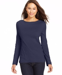 Charter Club Long Sleeve Boat Neck Pima Cotton Tee Intrepid Blue