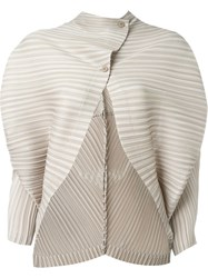 Pleats Please By Issey Miyake Pleated Bat Sleeve Cardigan Nude And Neutrals
