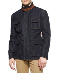 Berluti Four Pocket Denim Safari Jacket With Leather Detail Indigo