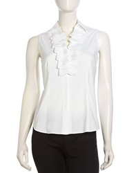 Studio 148 By Lafayette 148 New York Sleeveless Ruffle Button Down Blouse White