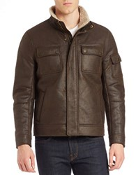 Kenneth Cole Sherpa Lined Faux Leather Bomber Jacket Brown