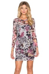 Lucca Couture Floral Mesh Longsleeve Bodycon Dress Gray