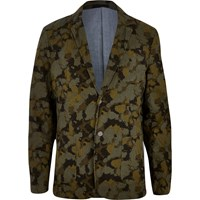 River Island Mensgreen Jack And Jones Premium Camo Print Blazer