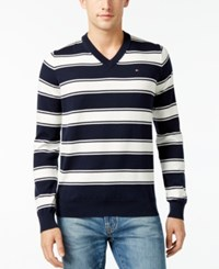 Tommy Hilfiger Men's Striped V Neck Sweater Snow White