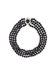 Chanel Vintage Floral Pearl Necklace Black