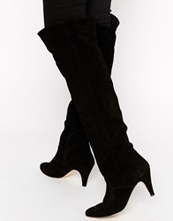 Ganni Melissa Leather Heeled Knee Boots 099Black