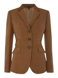 Lauren Ralph Lauren Helaine 3 Button Virgin Wool Hacking Jacket Brown