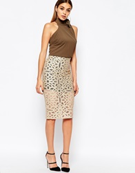 River Island Metallic Lace Print Pencil Skirt Beige
