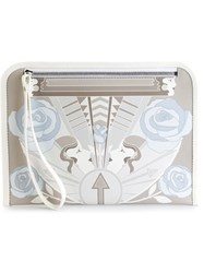 Holly Fulton Printed Zip Clutch Nude And Neutrals