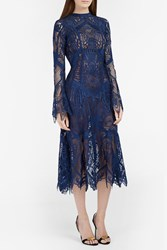 Jonathan Simkhai Geometric Lace Midi Dress Navy
