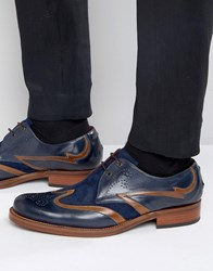 Jeffery West Corleone Leather Suede Derby Brogues Navy