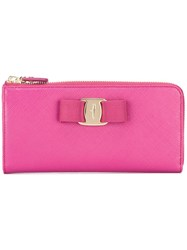 Salvatore Ferragamo 'Vara' Continental Wallet Pink Purple