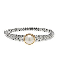 Lord And Taylor 12 13Mm White Freshwater Pearl Sterling Silver 14K Yellow Gold Bangle Bracelet