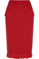 Sibling Fringed Merino Wool Boucle Skirt Red
