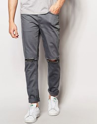 Asos Skinny Jeans With Knee Rips In Blue Blue