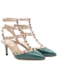 Valentino Rockstud Patent Leather Kitten Heel Pumps Green
