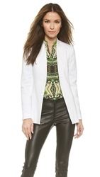 Alice Olivia Long Open Front Collarless Blazer White