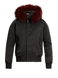 Kenzo Fur Trimmed Down Bomber Jacket Black