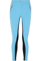 Emilio Pucci Leather Paneled Twill Skinny Pants Blue