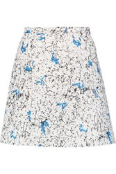 Carven Wrap Effect Printed Cloque Mini Skirt White